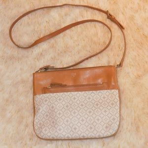 FOSSIL White and Tan cow hide Leather Crossbody